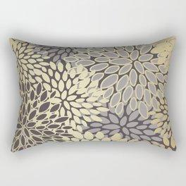 Gold Art, Floral Art Prints with Gray Rectangular Pillow
