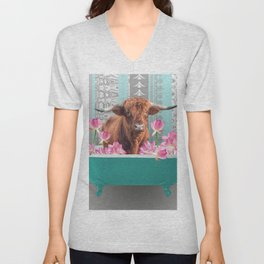 Highland Cow with turquoise Bathtub and Lotos Flowers Unisex V-Neck