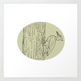 Woodpecker Pecking Tree Drawing Art Print
