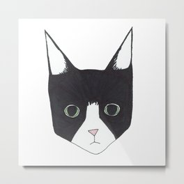 Henry the Tuxedo Cat Metal Print