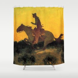 "Frederic Remington Western Art ""Against the Sunset"" Shower Curtain"