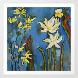 Flowers. Blue Art Print