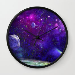 View From a Distant Moon Wall Clock