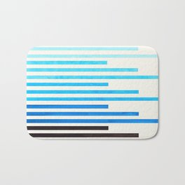Cerulean Blue Minimalist Abstract Mid Century Modern Staggered Thin Stripes Watercolor Painting Bath Mat