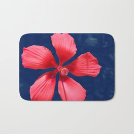 Hibiscus on Blue Bath Mat