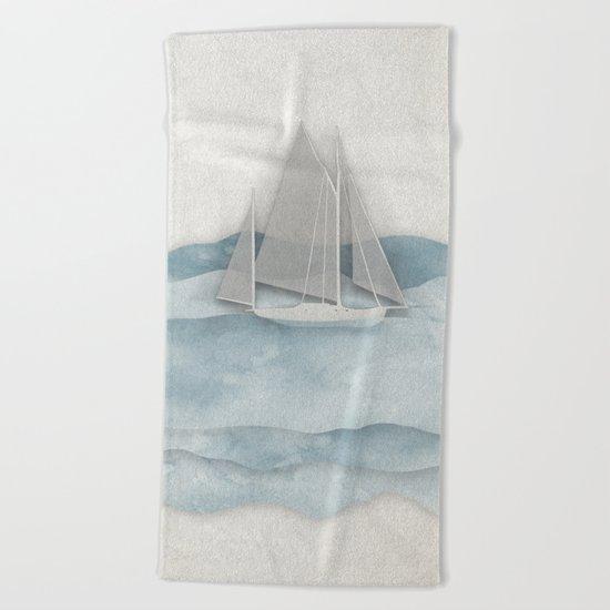 Floating Ship Beach Towel