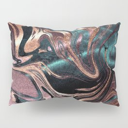 Metallic Rose Gold Marble Swirl Pillow Sham