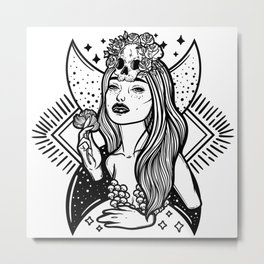 Lady Death. Pretty woman with flower and skull Metal Print