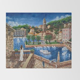 Port of Hvar, Croatia Throw Blanket