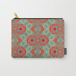 Bohemian Turquoise Coral White Floral Brocade Carry-All Pouch
