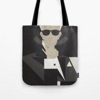 karl lagerfeld Tote Bags featuring Karl by B_U_R_T