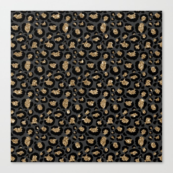 Black Gold Leopard Print Pattern Leinwanddruck