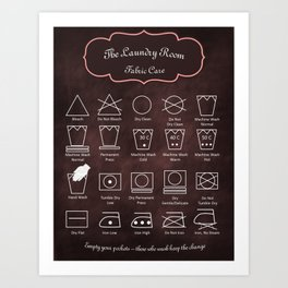 The Laundry Room Fabric Care Guide - Pink Art Print