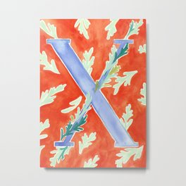 Letter X mint and red floral monogram Pattern Metal Print