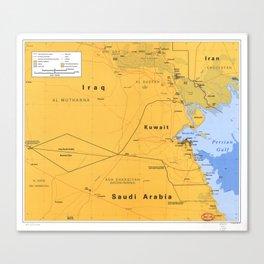 Gulf War Boundaries Map, Saudi Arabia, Iraq, Kuwait (1991) Canvas Print