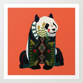panda orange Art Print