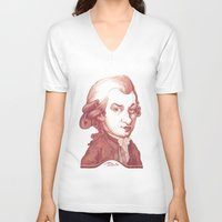 mozart V-neck T-shirts featuring Amadeus Mozart portrait by Stavros Damos