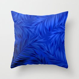 Palm Tree Fronds Brilliant Blue on Blue Hawaii Tropical Décor Throw Pillow