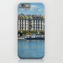 Photo Switzerland Geneva Hotel Lake Riverboat Marinas Cities Building Pier Berth Houses iPhone Case