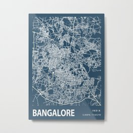 Bangalore Blueprint Street Map, Bangalore Colour Map Prints Metal Print
