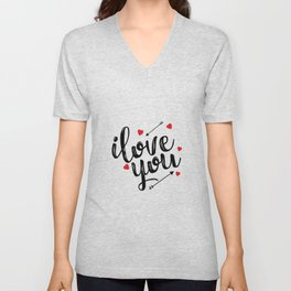 I love you typography Unisex V-Neck