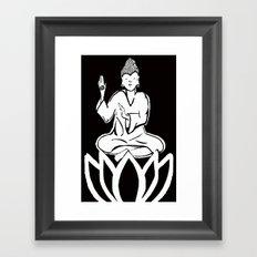 black and white buddha Framed Art Print