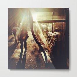Man. Sun. Payphone. Metal Print