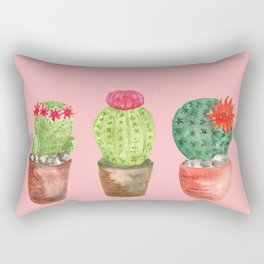 Three Cacti watercolor pink Rectangular Pillow