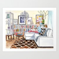 Interior with Girl, Drawing Art Print
