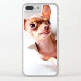 Chihuahua  dog  Tearing Through Clear iPhone Case