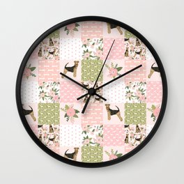 Airedale Terrier pure breed cheater quilt pattern dog lovers by pet friendly Wall Clock