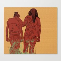 girls Canvas Prints featuring Girls by Nahal