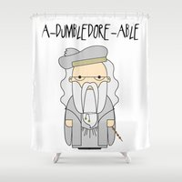 dumbledore Shower Curtains featuring A-DUMBLEDORE-ABLE.  by BeckiBoos
