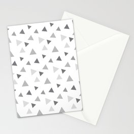 Modern geometrical pastel gray white triangles pattern Stationery Cards