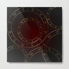 Zodiac circles and signs black and red Metal Print