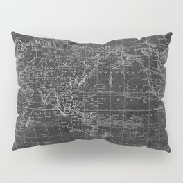 Black and White World Map (1799) Inverse Pillow Sham