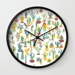 Cactuses in Pots Wall Clock