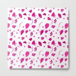 Pink Floral Pressed Flower and Leaf Pattern Metal Print