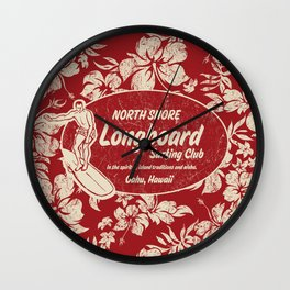 Club Surfing Longboard Surf Logo and Hibiscus Hawaiian Print      Wall Clock