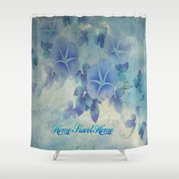 home sweet home Shower Curtains featuring Home Sweet Home by Judy Palkimas