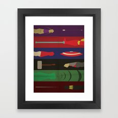 Avengers Weapons In Action - Marvel Superhero Poster Framed Art Print
