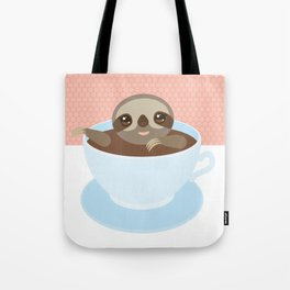 Sloth in a blue cup coffee, tea, Three-toed slot Tote Bag