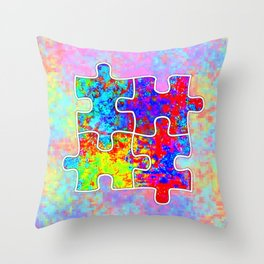 Autism Colorful Puzzle Pieces Throw Pillow