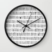woodstock Wall Clocks featuring Black Ink Woodstock Pattern on White  by LacyDermy