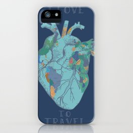 love to travel-world map 2 iPhone Case