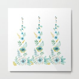 Blue Floral Twist Metal Print
