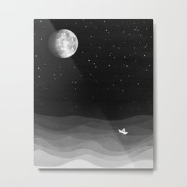 Moon phase, black and white, ocean Metal Print