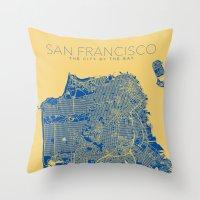 san francisco map Throw Pillows featuring SAN FRANCISCO City Map by Samantha Jeet