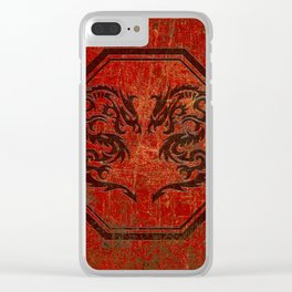 Dueling Dragons In An Octagon Frame With Chinese Dragon Characters Red Tint Distressed Clear iPhone Case