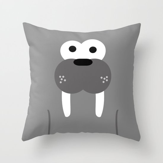 Minimal Walrus Throw Pillow